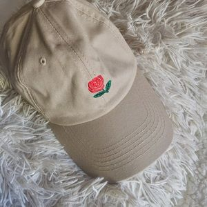 Tan Rose Baseball Cap