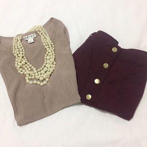 Reiss Tops - Reiss | Beige Sheer Short Sleeve Shirt | Size: S
