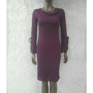 Trixxi Dresses & Skirts - Maroon Dress with Sheer Sleeves NWT