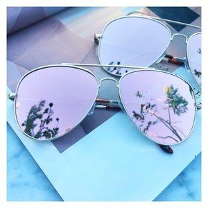 Accessories - Rose Gold Aviator, Rose Gold Mirrored Sunglasses
