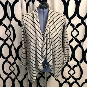 Bobeau Button Striped Sweater