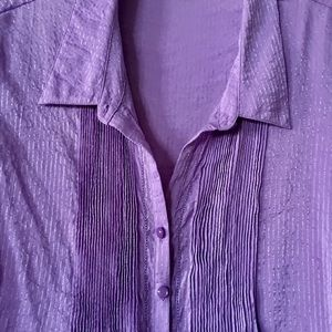 Coldwater Creek Tops - Coldwater Creek purple pleated blouse LG 14-16
