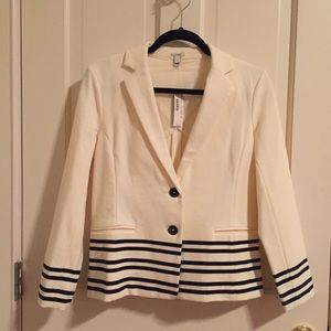 NWT JCrew off white w/ black stripes blazer