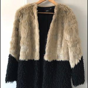 ASOS faux fur colorblock coat