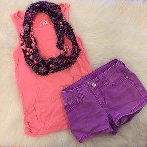 Justice Other - Justice Tank W/Scarf & Matching Shorts 8S