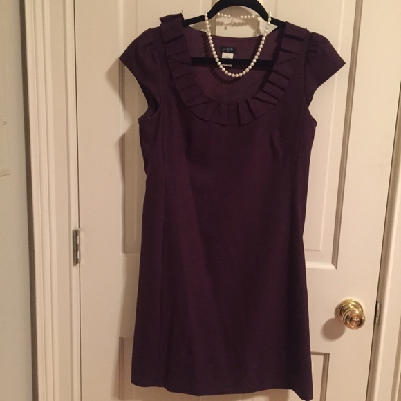 J. Crew Dresses & Skirts - JCrew plum colored suiting dress ruffle neckline