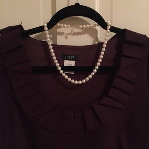 J. Crew Dresses - JCrew plum colored suiting dress ruffle neckline