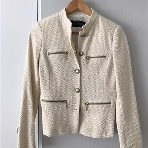 Zara jacket in cream with gold buttons and zipper