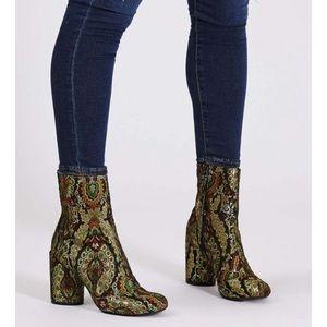 "Topshop Shoes - Topshop // ""Harry"" Jacquard Booties"