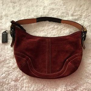 Coach Handbags - Coach Vintage Red Suede Small Handbag