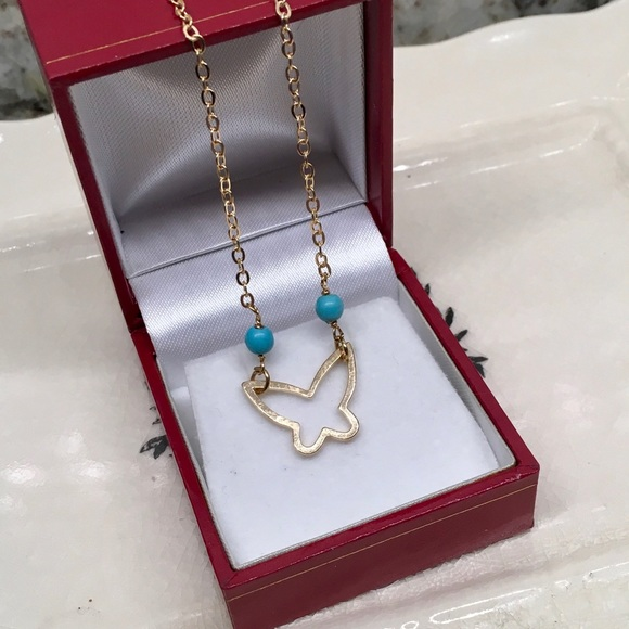 Bedecked & Bedazzled Jewelry - Turquoise and Gold Butterfly Pendant and Chain