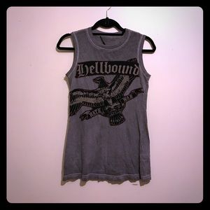 Salvage Tops - Salvage. Tank top. Gray. Small. Hellbound.