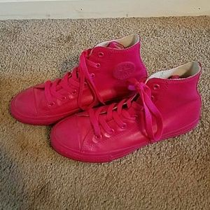 Converse Other - Converse All Stars Hi Top Pink Rubber Sneakers S 3