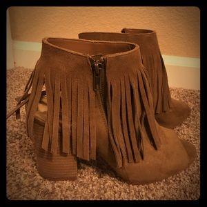 Carlos Santana peep toe fringe heeled boot