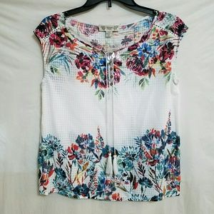 Vintage America Tops - Floral sleeveless Peasant  top