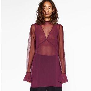 Zara Tops - NWOT Chiffon Ruffled Purple Blouse by ZARA
