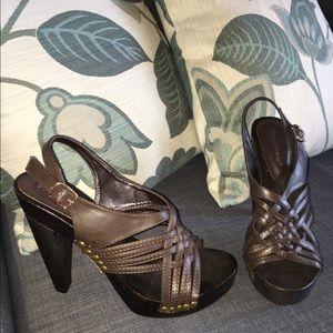 Pierre Dumas Shoes - Pierre Dumas Brown Stacked Heel Sandal Size 9