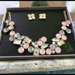 Jewelry - Blush Pink Statement Necklace and Earrings