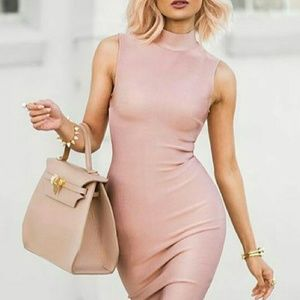 boutique Dresses & Skirts - Rose gold peachy bandage bodycon dress mock collar