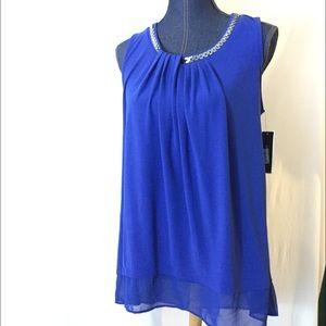 ALFANI NEW Large Blue Tunic Top Sleeveless Hi Low