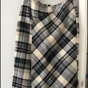 Zara Long plaid asymmetrical skirt