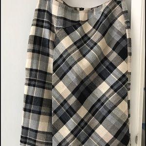 Zara Long plaid asymmetrical skirt