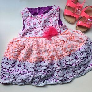 Neon + Lace Infant Dress