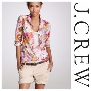 J CREW The Perfect SHIRT watercolor 2  XS button