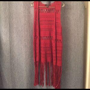 Forever 21 Red Crochet Duster Vest with Fringe (S)