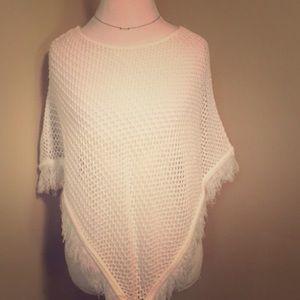 Dolce Jackets & Blazers - White Knit Fringe Poncho