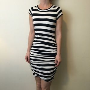 A.L.C. Dresses & Skirts - A.L.C. Black & White Striped Ruched Bodycon Dress