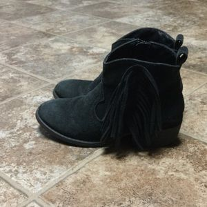 Justice Other - Justice Black Suede Booties with Fringe and Zipper