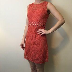 Free People Dresses & Skirts - FREE PEOPLE Orange Knit Crochet Waist Dress