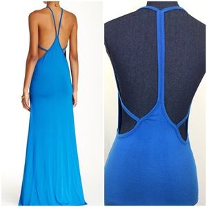 NWOT GO COUTURE Med Blue Open Back Maxi Dress New