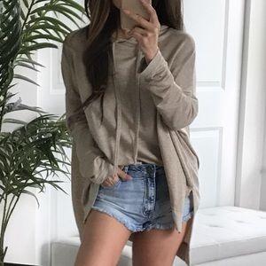THIN Smooth Sleek Hi-Lo hoodie