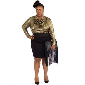 Plus size vintage studio 54 top in gold lame