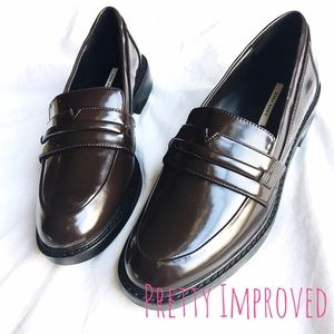 Zara Basic Brown Penny Loafers