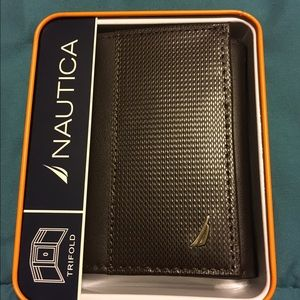 Nautica Other - Nautica Mens Trifold Brown Leather Wallet