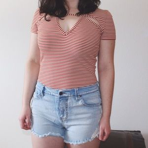 frenchie stripe cutout tee