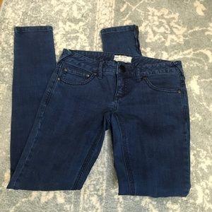 Free People Blue Zipper Denim Skinny Jeans