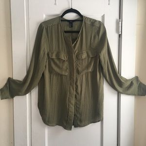 H&M Olive Green Crepe Top