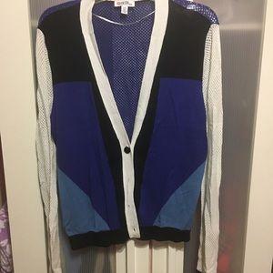 Cardigan in block color pattern