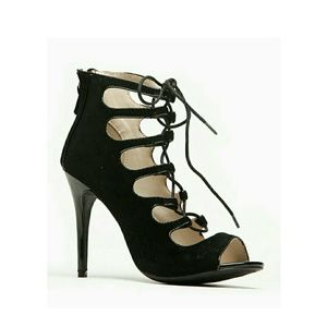 Anne Michelle Criss Cross Lace Up Peep Toe Heels