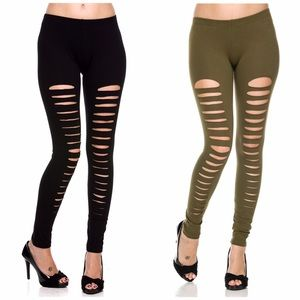 Pants - OLIVE Trendy Ripped Leggings