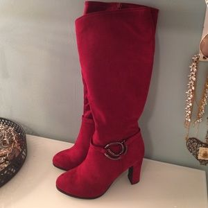 Shoes - Red Suede High Heel Boots Size 6