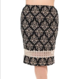 Bellino Clothing Dresses & Skirts - 💥DEAL OF THE DAY💥Damask Lace Accent Pencil Skirt