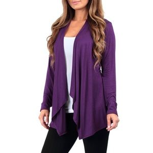 Rags and Couture Sweaters - Purple Open Draped Cardigan