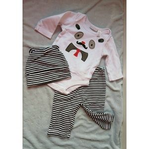First Impressions Other - NWOT Baby Boy's Outfit Panda Moustache Set 0-3 M