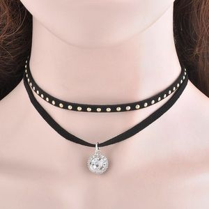 Boutique Jewelry - BOHO Black Suede Double Studded Choker Round Gem