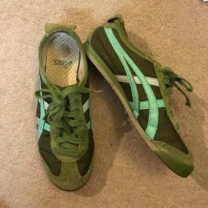 Green tiger asics sneakers.